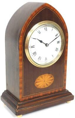 Incredible French 8 Day Mantel Clock Solid Mahogany Wood Lancet Top Mantle Clock