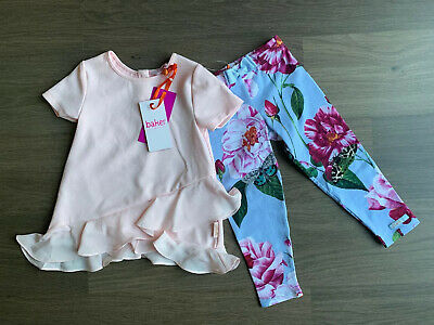New Ted Baker Girls 2pcs Outfit Set Plisse Top And Leggings Size 3-4 Years