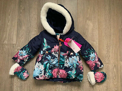 New Ted Baker Baby Girls Navy Resistant Coat With Mittens Size 9-12 Months