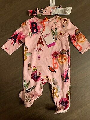 New Ted Baker Baby Girls Sleepsuit Babygrow With Headband Set Size 0-3 Months