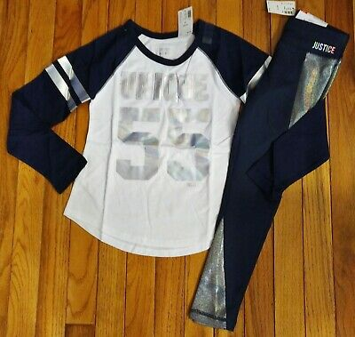 NWT Justice Girls Outfit Unique Football Top/Leggings Size 6 7