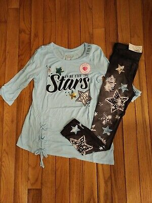 NWT Justice Girls Outfit Lace Up Top/Leggings Size 6 7