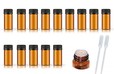 50Pack Set 1ML 2ML 3ML 5ML Amber Glass Bottle with Orifice Reducer and Cap Small