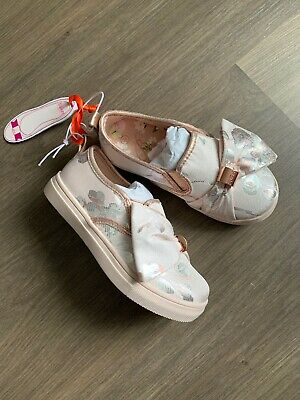 New Ted Baker Girls Satin Jacquard Slip On Skater Shoes Trainers Size UK 7 EU 24