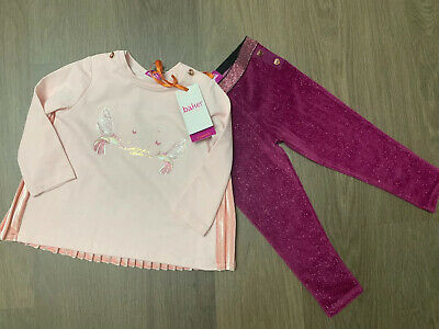 New Ted Baker Baby Girls Top And Velour Leggings Outfit Set Size 12-18 Months