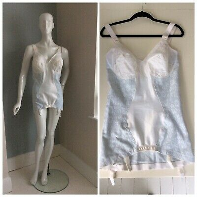 DC9 Vintage Corselette Control Firm Body Suspenders Non Wired White Size 46D