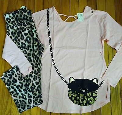 NWT Justice Girls Outfit Hidden Pocket Top/Leopard Leggings Size 14 16