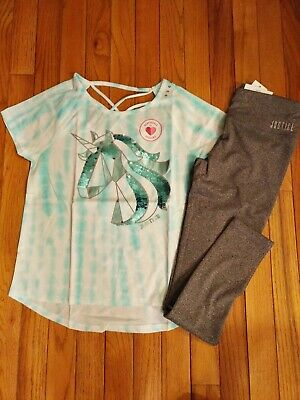 NWT Justice Girls Outfit Sequin Unicorn Top/Leggings Size 12