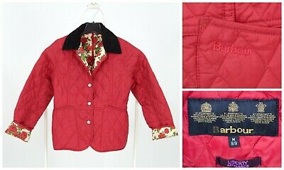 Girls Barbour Liberty Quilted Jacket Rose Print Red Kids Size M 8-9 Years