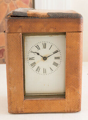 Antique Small French? Brass Carriage Clock + Key Needs Clean!