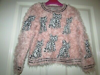 girls pink fluffy cat design jumper from Next age 5yrs