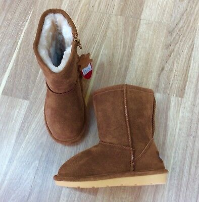 Chipmunks - Girls chestnut 'jersey' suede boots (Ugg stlye) UK6 EU23