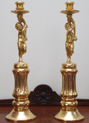 A Stunning Pair of Antique Ormolu Cherub Candlesticks on Wooden Gilt Base