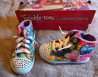 Girls Skechers Twinkle Toes Size 4 Light Up High Top Style