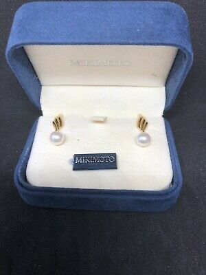 MIKIMOTO PEARL EARRINGS 18k 7.5MM WOW AUTHENTIC