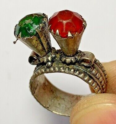 LATE MEDIEVAL SILVERED RING WITH RARE 2 STONES 6.8gr 33.0mm (inner 18.0mm)
