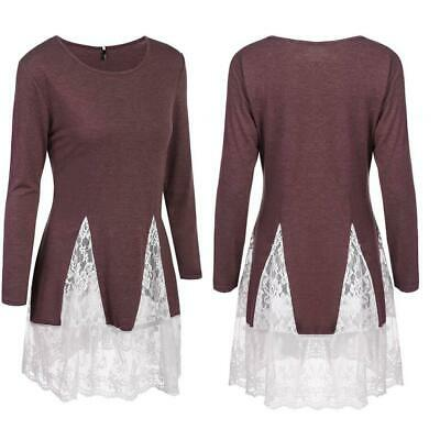 Women's Long Sleeve A-line Lace Patchwork Trim Casual Blouse Tops GDY7