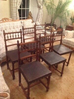 Lovely Antique French Walnut & Leather Dining Chairs x 6