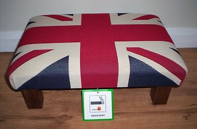 "Union Jack Footstool 18""L x 12""W x 8""H, Heavy Tapestry Fabric,With Chunky Legs."