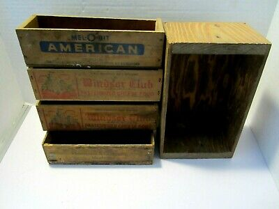 Five Vintage Wooden Boxes Cheese Advertising Cigar Primitive Farmhouse decor