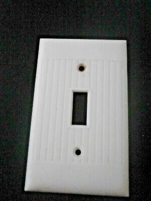 Single LIGHT SWITCH TOGGLE Wall Cover Plate IVORY RIBBED SIERRA ELECTRIC USED