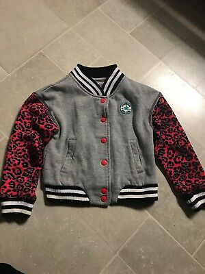 converse varsity Tracksuit jacket girls age 5-6 neon leopard and grey marl Rare