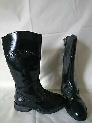 Clarks Black Patent Leather Brogue Trim Knee High Girls Boots Size 10G Vgc