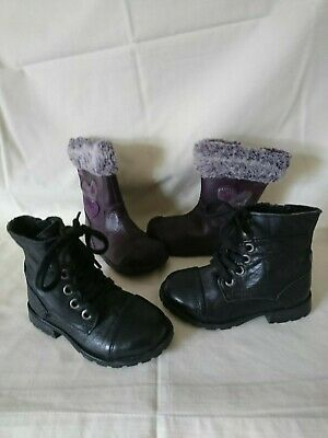 Clarks Plum Leather Faux Fur Trim&Next Black Leather Girls Boots Sz 6&6G Vgc