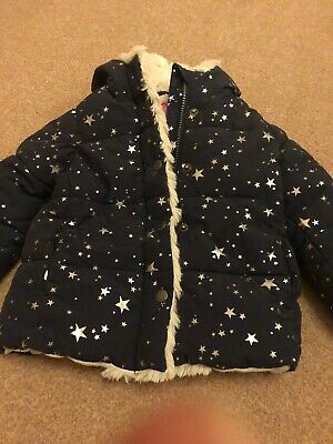 Joules girls winter coat - 12-18/18-24 months - navy star with fur lining