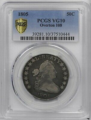 1805 Draped Bust Half Dollar, O-108, High R.4, VG10, PCGS Shield w/FREE SHIPPING