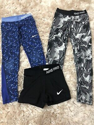 Girls Nike Pro Cropped Sports Leggings Age 10-12 Years & Nike Pro Shorts.