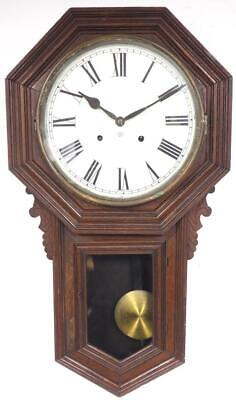 Antique Ansonia Wall Clock 8 Day American Striking Drop Dial Wall Clock C1900