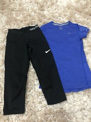 Girls Nike Pro sports leggings age 12-13 (Girls Large) & Nike Dri - Fit Top Xs