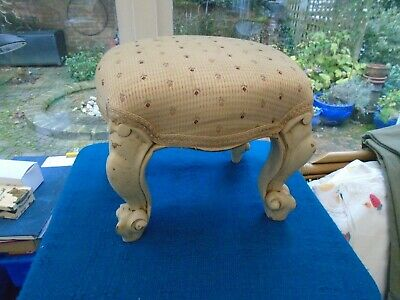 "Vintage/Antique(?) Small Stool  7.5"" Tall , Padded Top  - See Pics"