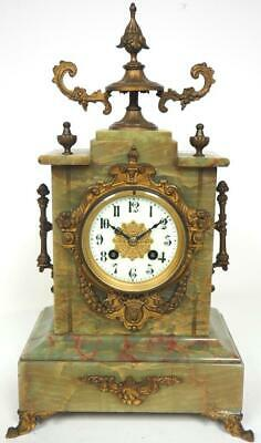 Incredible French 8 Day Mantel Clock Green Marble Cased Onyx Strike Mantle Clock