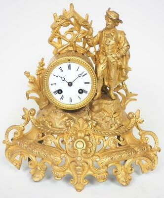 Antique French 8 Day Gilt Metal Mantel Clock Original Bell Striking Mantle Clock