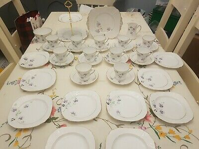 Large Vintage Phoenix Bone China Hand Painted Art Deco Floral Tea Set