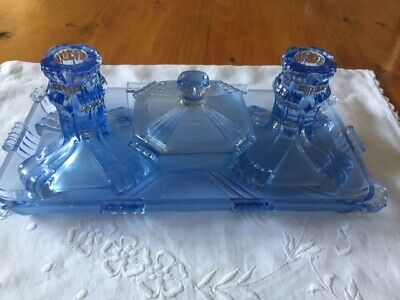 Vintage/Retro/ Art Deco  Blue clear &  frosted Glass 4 piece Dressing Table Set
