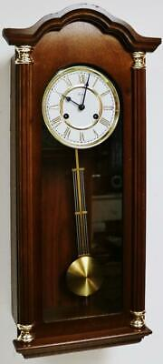 Small Vintage Franz Hermle 8 Day Mahogany Slimline Gong Striking Wall Clock