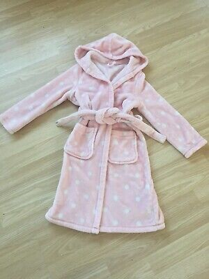 ~Girls Pink Dressing Gown Age 7-8 M&S Robe House Coat~