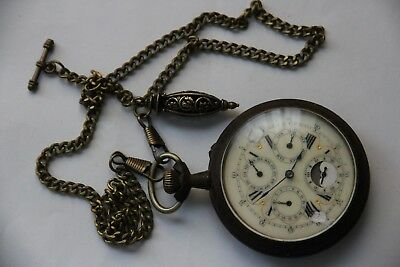 ANTIQUE GOLIATH DAY/DATE/MONTH & MOONPHASES POCKET WATCH with chain