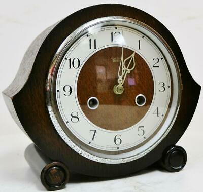 Antique English C1930's Smiths Enfield Art Deco 8 Day Gong Striking Mantel Clock