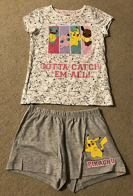 Girls White & Grey Pokemon Shortie Pyjamas, Age 8-9 Years