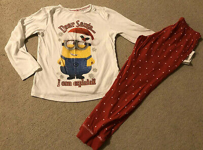 Girls Red & White Minions Christmas Pyjamas, Age 7-8 Years