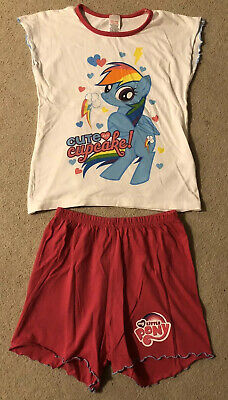 Girls My Little Pony Rainbow Dash Pink & White Shortie Pyjamas, Age 7-8 Years