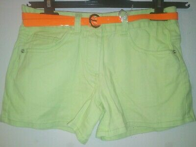 Bnwt Primark Young Dimension Girls Lime Green Shorts With Orange Belt 11-12 yrs