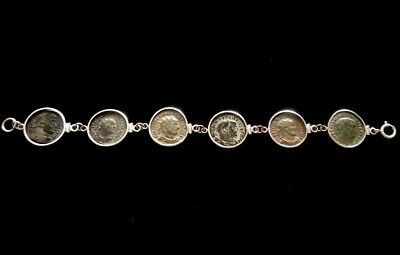 Large Ancient Roman Authentic 6 Coins Charm Sterling Silver Bracelet High Grade