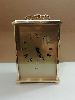 Vintage Swiza 8 Day Carriage Mantle Alarm Clock - Brass Cased, WINDUP  MOVEMENT