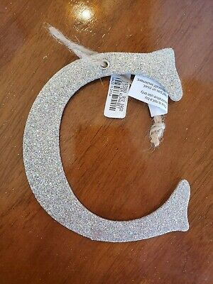 POTTERY BARN KIDS German Silver Glitter Letter C Holiday Christmas Tree Ornament