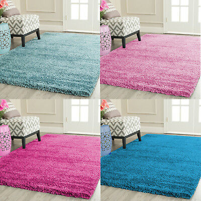 Fluffy Plain Small/Large Shaggy Pink Teal Duck Egg Blue Rugs Non-Shed Floor Mat
